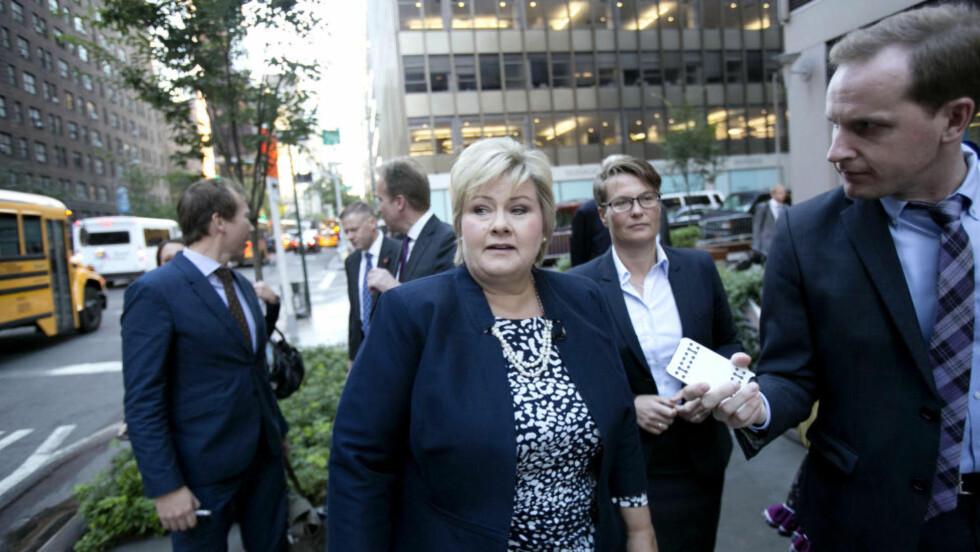 PÅ KLIMAMØTE: Statsminister Erna Solberg (H) spiller en viktig rolle når verdens ledere møtes i FN for å diskutere klima. Foto: Pontus Höök / NTB scanpix