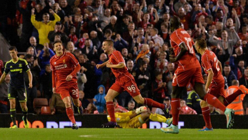 DRØMMEDEBUT:  Jordan Rossiter scoret det første for Liverpool. Foto: NTB Scanpix