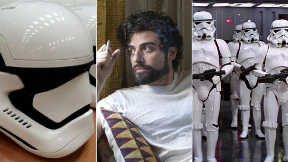 MANGE STORMTROPPERE: Innspillingen av «Star Wars: Episode VII» er godt i gang - og ifølge skuespiller Oscar Isaac er det «hundrevis» av stormtroppere på settet. Til venstre et lekket bilde av de nye stormtropperhjelmene.