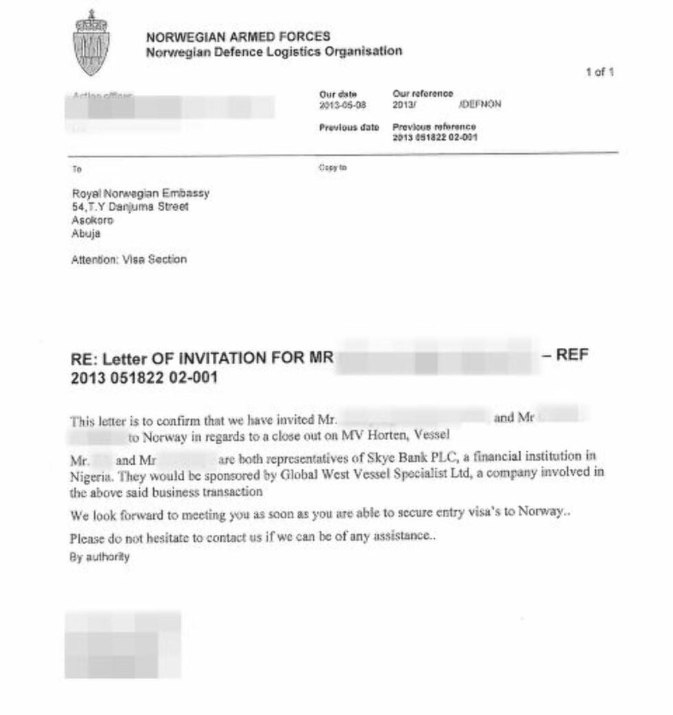 INVITASJON: Forsvaret har nektet ethvert kjennskap til den nigerianske krigsherren Tompolo og hans paramilitære selskap Global West Vessel Specialist (GWVS). Men denne invitasjonen, datert 8. mai 2013, viser at selskapet var involvert i kjøpet av KNM «Horten».