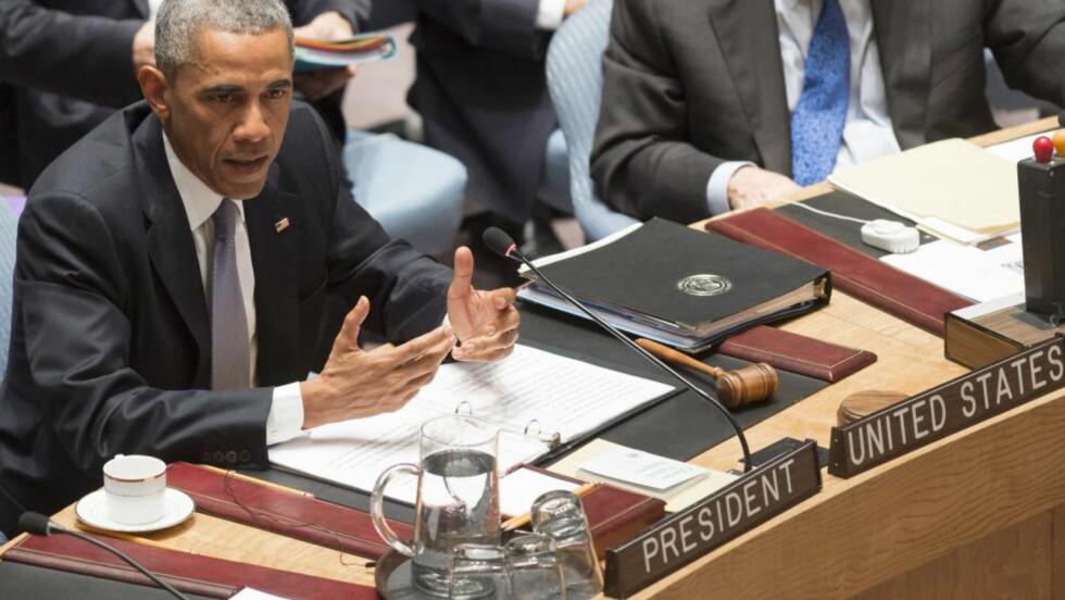 I FN: USAs president, Barack Obama, ledet et møte i FNs sikkerhetsråd. Foto: AFP PHOTO / Saul LOEB