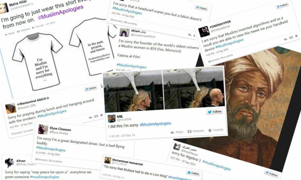BRUKER HUMOR: Muslimer som har sett seg lei av å aktivt måtte ta avstand fra ekstreme ideologier, bruker humor på Twitter.