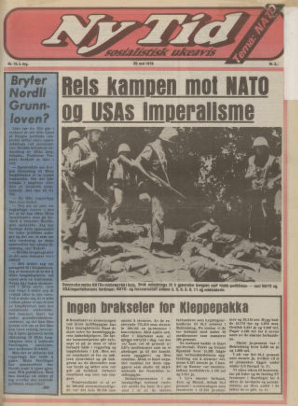 VAR I MOT NATO: Ny Tid-forside fra 1976. Faksimile.