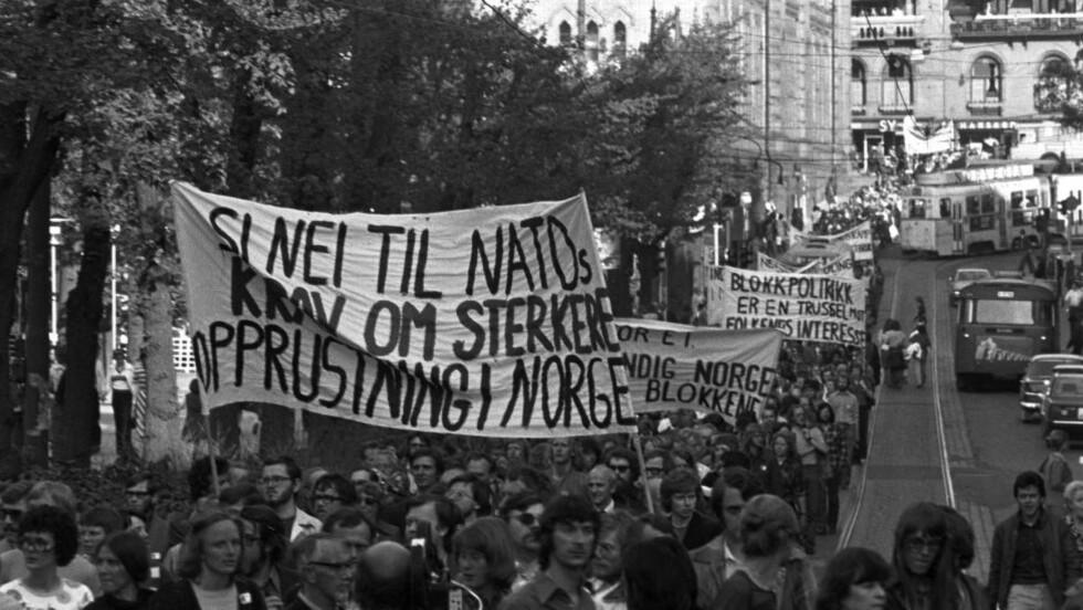 - SI NEI TIL NATO: 19. mai 1976 demonstrerte nordmenn mot Natos ministerrådsmøte i Oslo. Foto: NTB SCANPIX