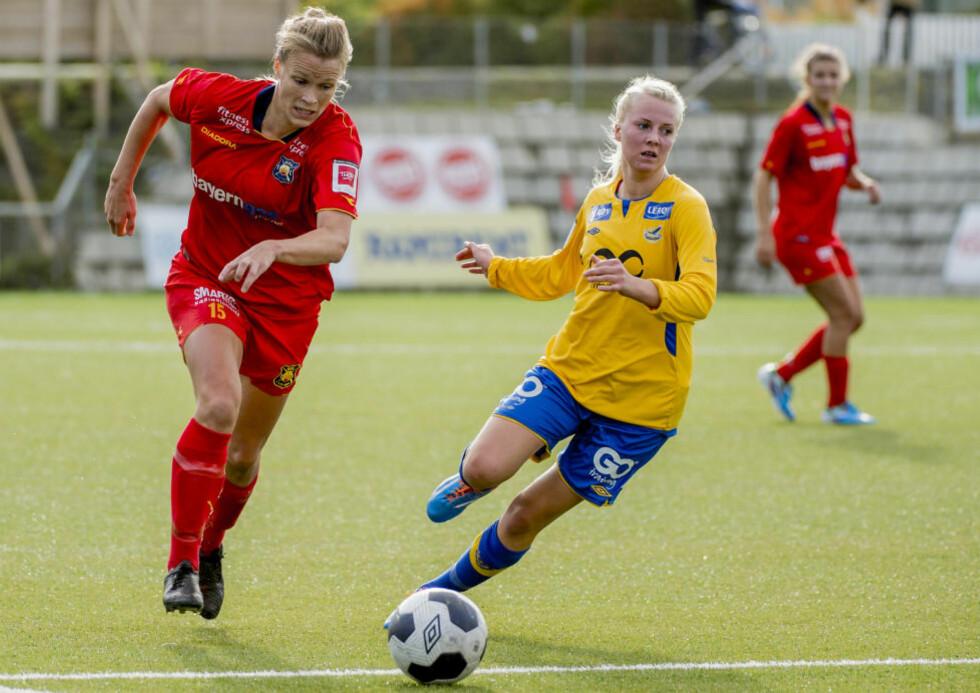 TIL FINALEN: Tina Fremo (til høyre) scoret ett av målene da Trondheims-Ørn slo Hedda Strand Gardsjord og Røa 3-2. Foto: Ned Alley / NTB scanpix