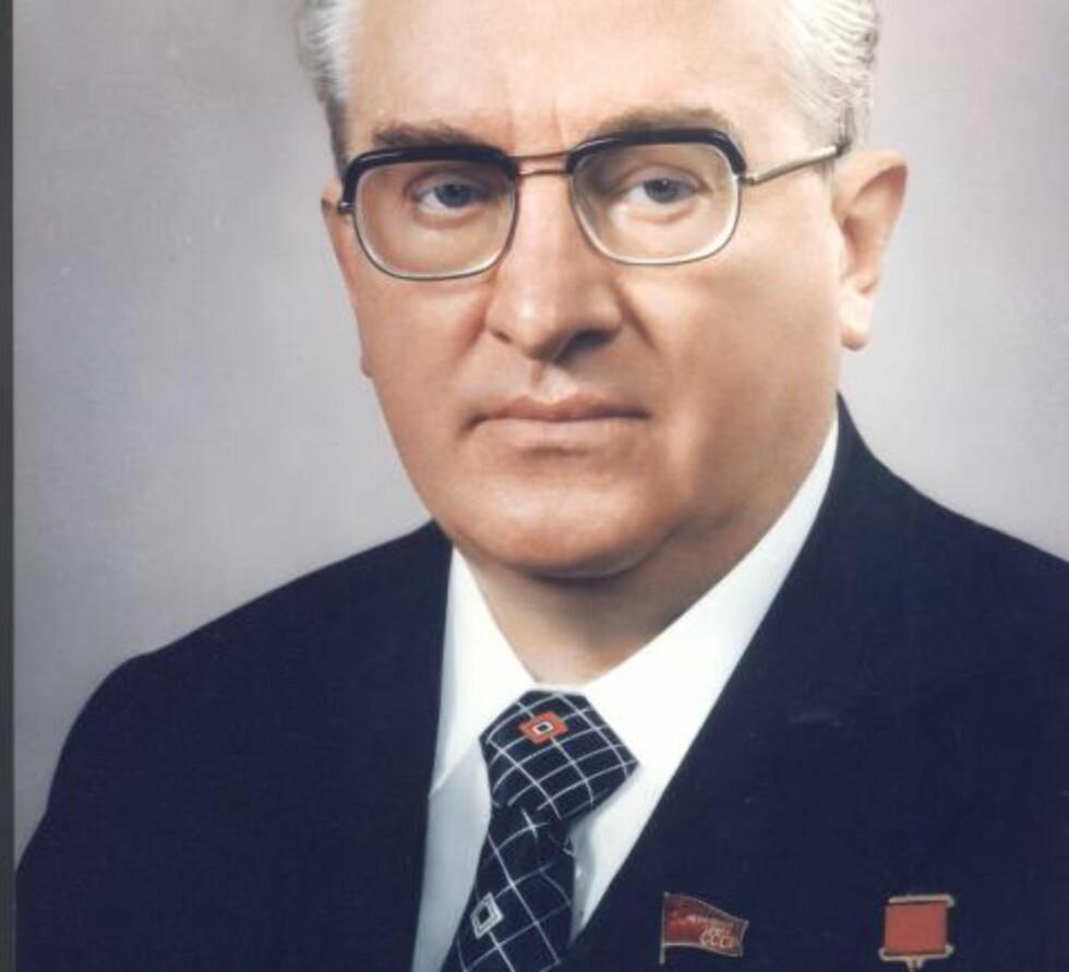 SENDTE ORDRE: 22. november 1975 sendte KGBs mektige sjef og seinere Sovjetunionens generalsekretær, Jurij Andropov, ut en ordre til samtlige KGB-ansatte i Vest-Europa, og spesielt Norge: Sakharov skulle svertes. Foto: NOVOSTI/NTB SCANPIX