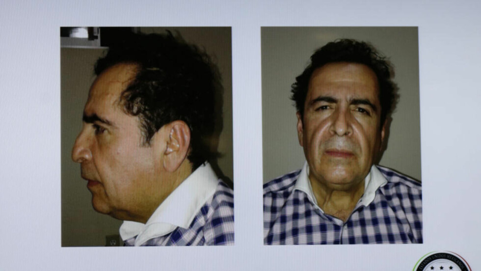 PÅGREPET:  Bilder av den antatte narkobaronen Hector Beltrán Leyva ble vist under en pressekonferanse ved justisdepartementet i Mexico City. Foto: REUTERS/Attorney General's Office