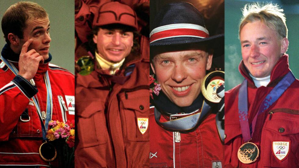 GULLGUTTER: Ådne Søndrål, Espen Bredesen, Halvard Hanevold og Kjetil Andre Aamodt har alle vunnet OL-gull, og synes det er trist at dages idrettsutøvere ikke får oppleve et OL på hjemmebane. Foto: NTB Scanpix