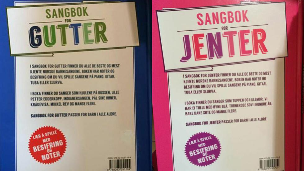 DELES OPP: I forlaget Victoria sine bøker «Sangbok for gutter» og «Sangbok for jenter» fordeles kjente barnesanger basert på kjønn. Det får flere til å rase. Foto: Hanne Wetland