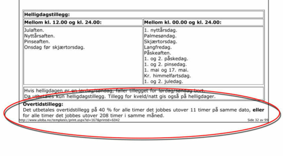 I STRID MED ARBEIDSMILJØLOVEN: I en assistentperm som Dagbladet fikk tilgang til sto det at de ansatte først skulle få overtid når de jobbet lengre enn 11 timer. Dette på å tross av at den alminnelige arbeidstida ikke skal overstige ni timer i løpet av 24 timen, ifølge arbeidsmiljøloven.