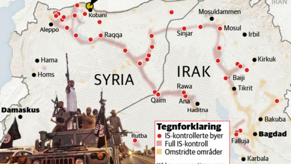 HARDE KAMPER:  Kampen om grensebyen Kobani (Ayn al-Arab på arabisk) mellom Syria og Tyrkia har fått en ny dramatisk utvikling etter at en kurdisk kvinne sprengte seg selv i lufta mot en IS-stilling søndag. GRAFIKK: KJELL ERIK BERG/DAGBLADET.