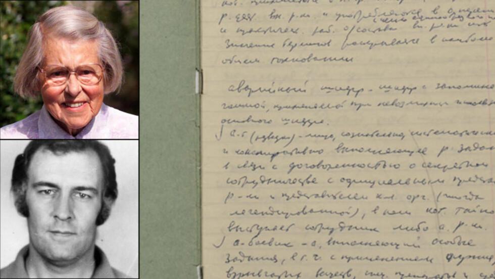 BLE AVSLØRT: Den 87 år gamle bestemora Melita Norwood (øverst) ble verdenskjent da hun ble avslørt som en av KGBs viktigste spioner i Mitrokhin-arkivet. Samtidig ble det kjent at politimannen John Symonds hadde forført kvinner verden over på oppdrag fra Mitrokhin. Til høyre er de orginale arkivene til Vaslij Mitrokhin fra da han jobbet i arkivet til KGB. Foto: THE CHURCHILL COLLEGE ARCHIVE/NTB SCANPIX/PASSBILDE