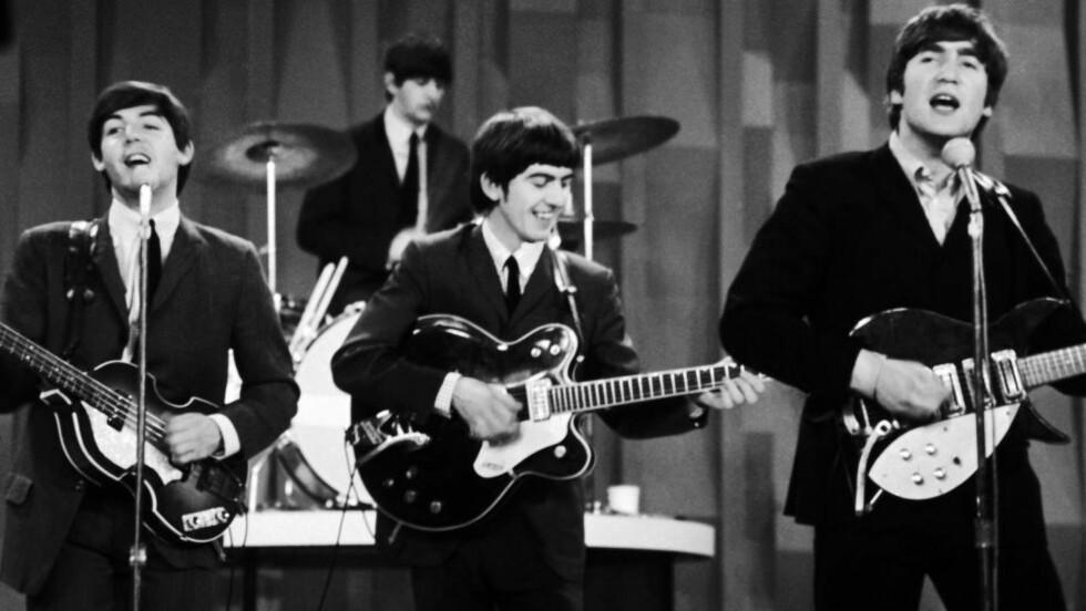 THE FAB FOUR: The Beatles var fra starten best kjent for sine hitlåter, men snart skulle de bli konseptalbumets store innovatører. Fra venstre Paul McCartney, George Harrison og John Lennon, bakerst Ringo Starr på trommer.