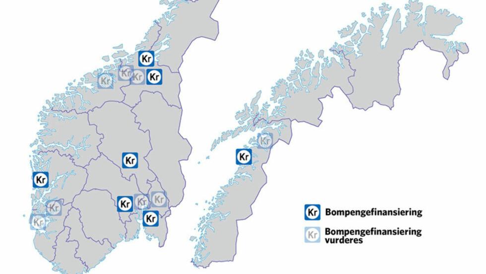 IKKE BOMFRITT: Regjeringa legger opp til flere nye bom-prosjekter kommende år. Grafikk: Ola Strømman / Dagbladet