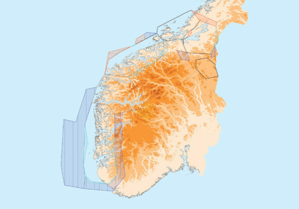 OMRÅDENE SOM ENDRES: Kartet viser områdene hvor luftrommet endres. Illustrasjon: AVINOR