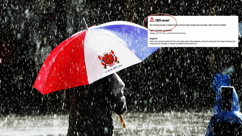 PÅ VEI: Det blir regn, regn, regn flere steder sør i landet de neste dagene. Sjekk hvordan været blir en uke framover. Foto: Erik Berglund