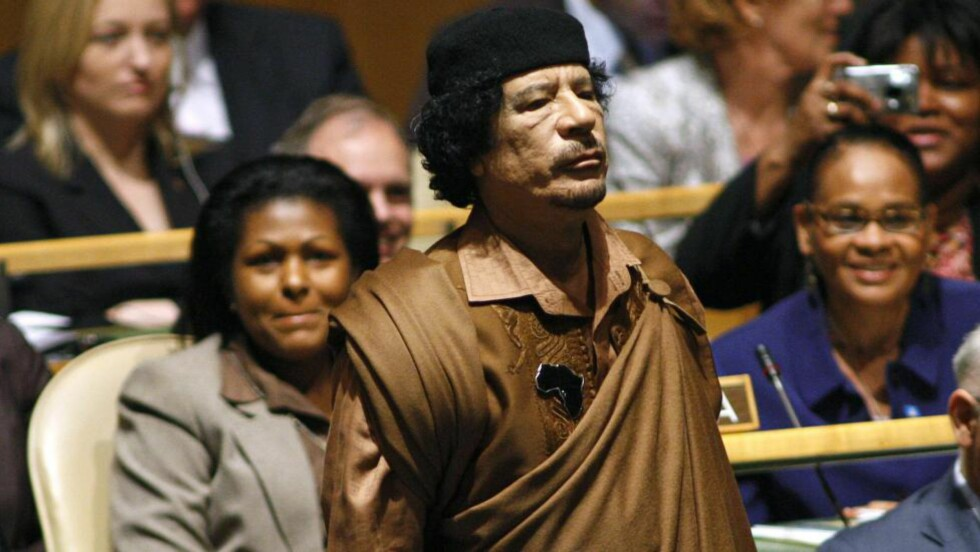 LIBYAS DIKTATOR:   Muammar Gaddafi tok makta i et blodig militærkupp i 1969 og satt som landets diktator fram til 2011. Foto: REUTERS/Shannon Stapleton