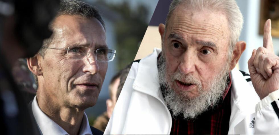ANGRIPES VERBALT: Fidel Castro mener Jens Stoltenberg har «mye hat i ansiktet» og «fremmer en utryddelseskrig mot Den russiske føderasjon». Foto: NTB SCANPIX