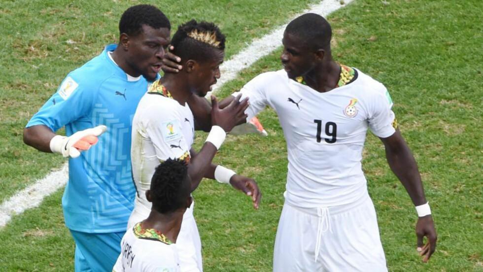 SKANDALER: Det ghanesiske landslaget vartet opp med den ene skandalen etter den andre under sommerens fotball-VM i Brasil. Nå kan historien bli bakteppe for en ny thriller. Foto: AFP PHOTO / EVARISTO SA / NTB SCANPIX