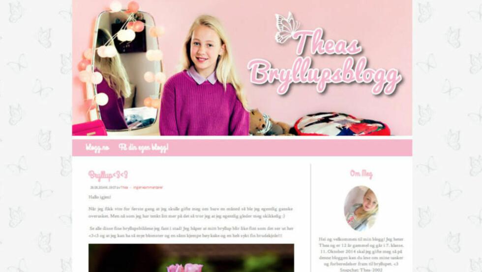 SPRES: Theas bryllupsblogg vekker nå oppmerksomhet også i utlandet. Faksimile: Plan/theasbryllup.blogg.no