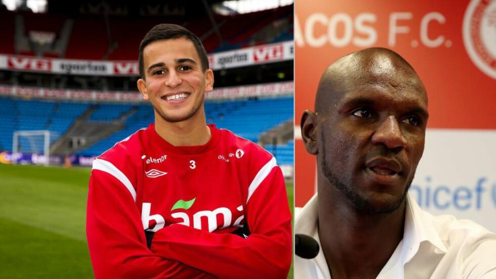 KOMPISER: Omar Elabdellaoui og Eric Abidal har funnet tonen etter at begge signerte for Olympiakos i sommer. Foto: Erlend Aas / NTB Scanpix og Petros Giannakouris / AP / TT / NTB Scanpix