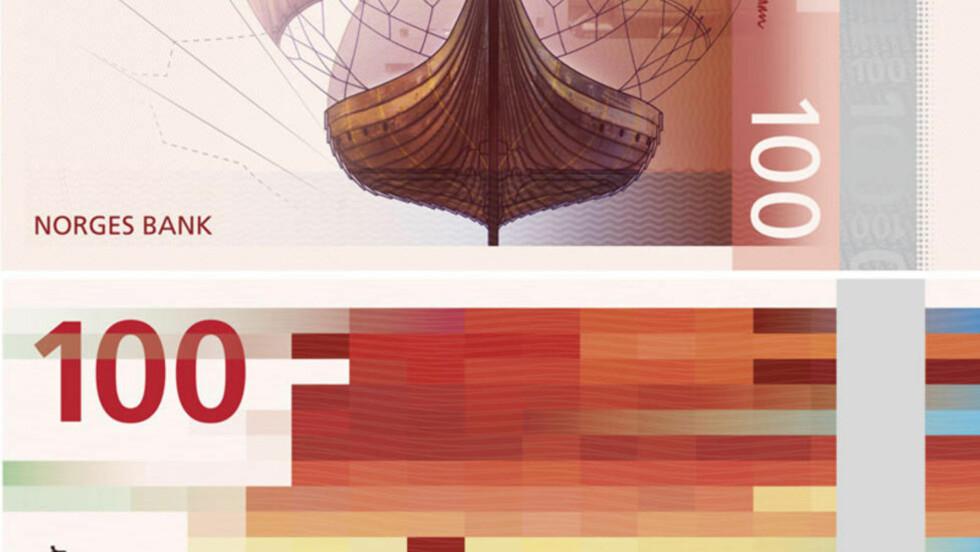 VÅR NYE HUNDRINGS:  Her er halve for- og baksida av Norges nye 100-lapp. Internasjonale medier og design-nettsteder hyller sedlene, som etter planen skal slippes fra 2017. Foto: Norges Bank