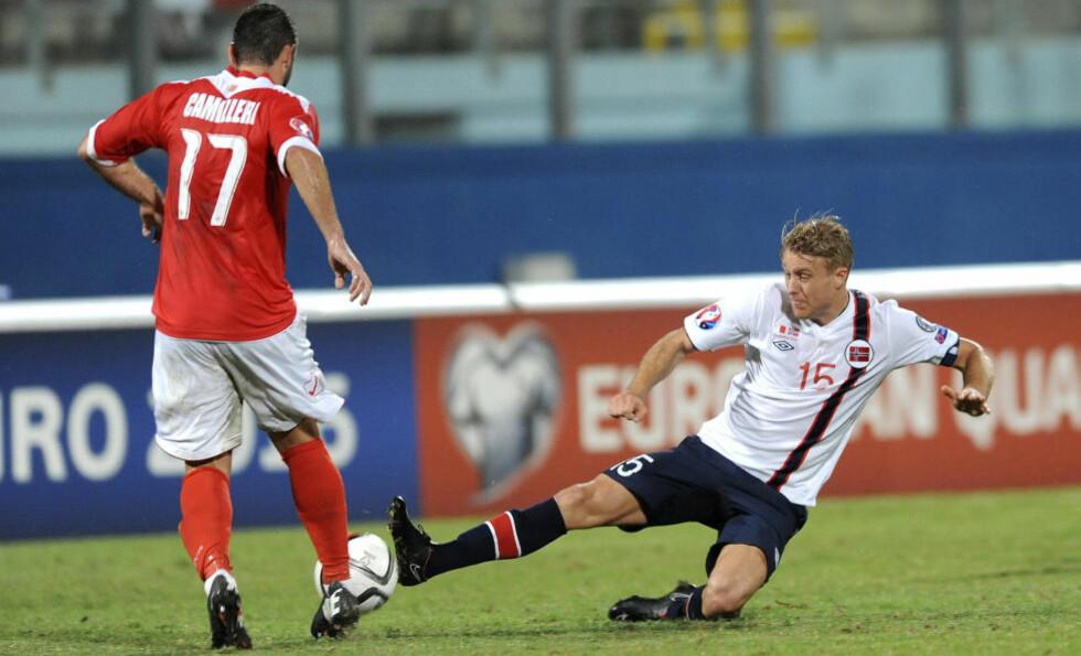 - OVERRASKENDE LETT: Landslagskaptein Per Ciljan Skjelbred hadde forventet mer motstand fra Malta i 3-0-seieren i går kveld. Foto: Terje Pedersen / NTB Scanpix