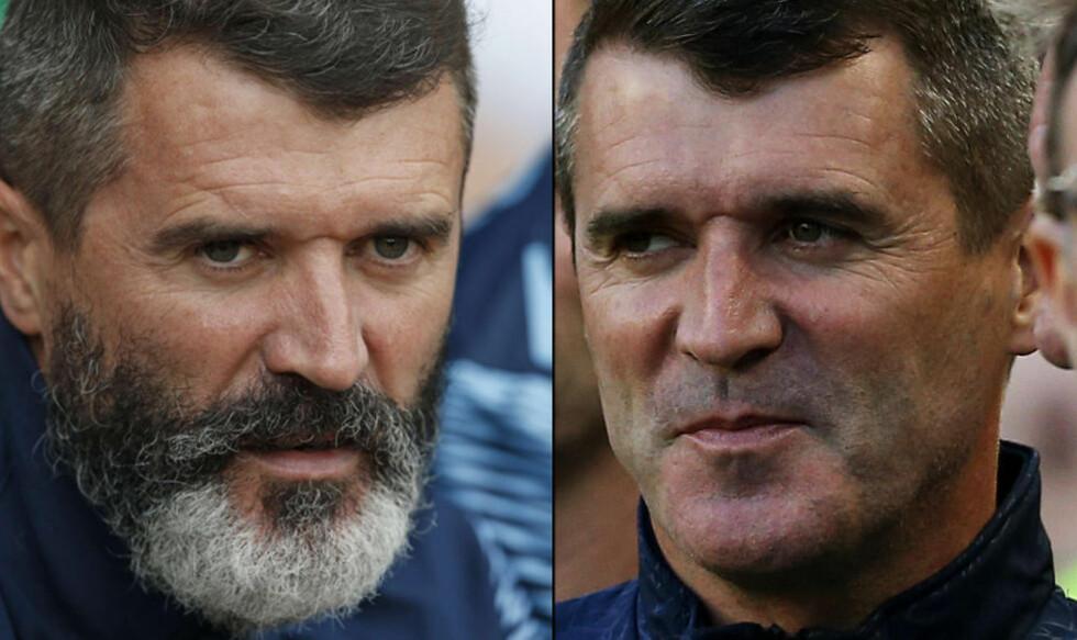 FØR OG ETTER:  Roy Keane, med og uten skjegg. Bildet til høyre er fra lørdag, i forbindelse med kampen mellom Irland og Gibraltar. Foto: NTB Scanpix