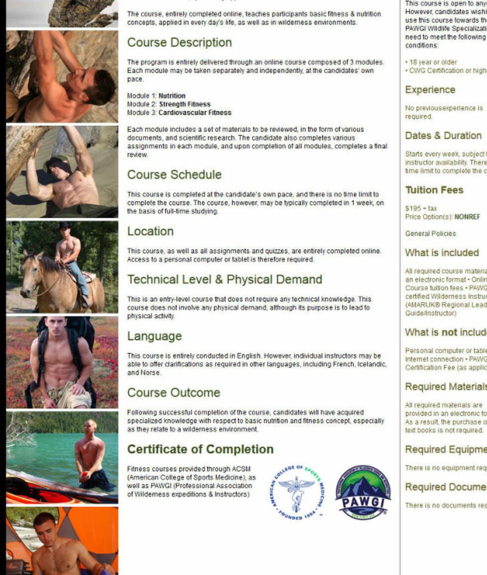 HOMOEROTISK: Slik fremstilles kurset om «wilderness fitness and nutrition» hos Amaruk. - Websiden er knyttet til andre nettsider med en homoerotisk estetikk, som idoliserer vikinglivsstilen. Skjeggete hipstere med veltrente mager, ute i skogen», skriver Sun News.