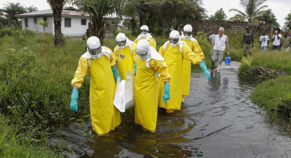 Begravelse: En gruppe som jobber med å begrave døde ebola-ofre bærer på en omkommet person i Liberia. Foto: Ahmed Jallanzo/EPA