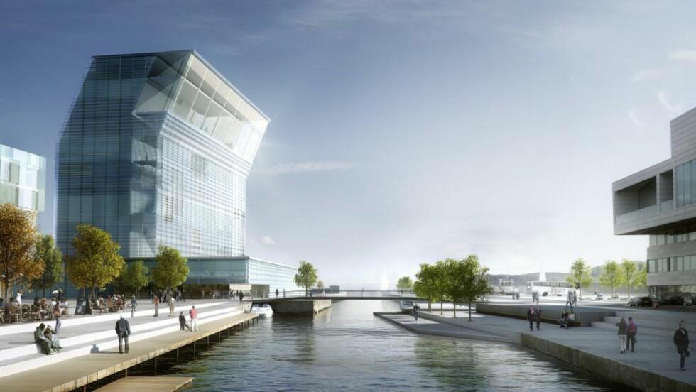FORSINKET:  Ifølge Dagsavisen vil byggestarten av det nye Lambda-bygget starte først til sommeren neste år.  Foto: mir.no / NTB scanpix