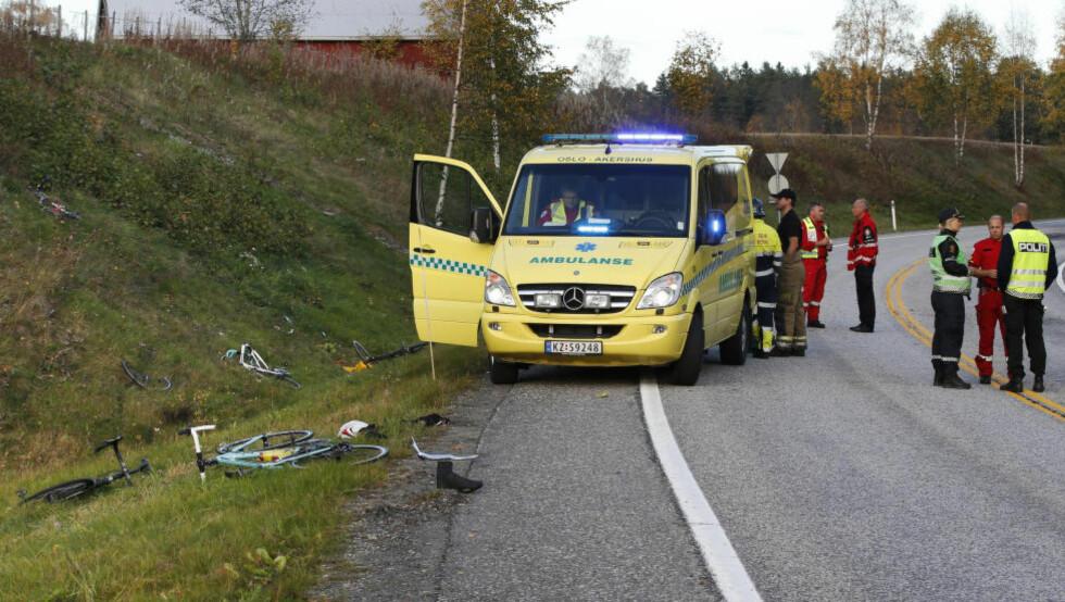 FATAL PÅKJØRSEL: Petter Omsland Nikolaisen omkom da han og fire andre ble påkjørt da de var på treningstur ved E16 og fylkesvei 176 vest for Gardermoen. Foto: Cornelius Poppe / NTB scanpix