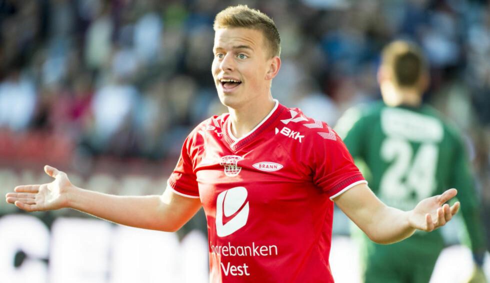 SCORET:  Brann-spilleren Jonas Grønner scoret ett av målene da Norges U21-lag slo Ungarn. Foto: Ned Alley / NTB scanpix