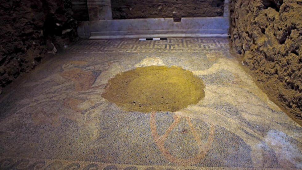 MOSAIKK: Gulvet i det andre gravkammeret er dekket av mosaikk og viser en vogn trukket av to hvite hester og to menn. Vognføreren er en mann med skjegg med en laurbærkrans på hodet. Foto: AP Photo/Greek Culture Ministry/NTB Scanpix
