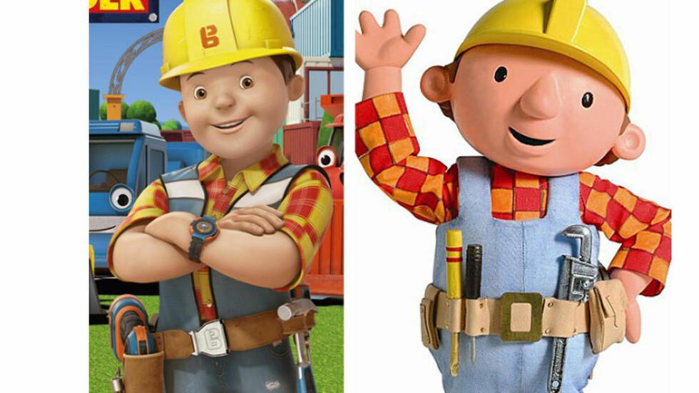 FIKK MAKEOVER: Den nye utgaven av Byggmester Bob (t.v.) blir ikke tatt godt i mot i sosiale medier. Originalen til høyre.