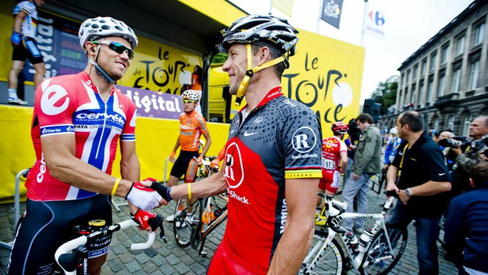 INNRØMMET DOPING: Allerede i mai 2011 fortalte Lance Armstrong til Thor Hushovd at han dopet seg i sin karriere. Det var halvannet år før Oprah Winfrey og hele tilståelsen. Foto: Thomas Rasmus Skaug / Dagbladet