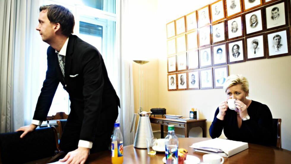 ENDRINGER:  Den mest markante endringen er at Siv Jensens nærmeste medarbeider, Ole Berget (32), går av som statssekretær i Finansdepartementet. Foto: Nina Hansen / Dagbladet
