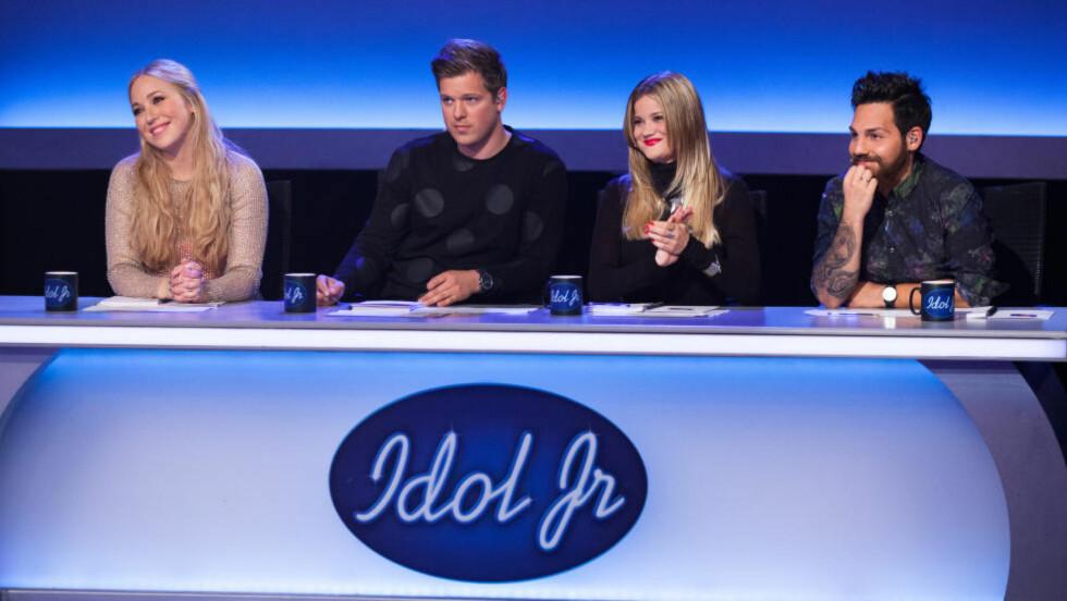 FLYTTES IGJEN: Idol Junior får sendetid på fredager. Her dommerpanelet Margaret Berger, Aleksander With, Sandra Lyng og Alejandro Fuentes. Foto: TV2.