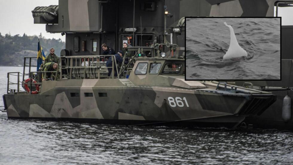 LYTTER: Det svenske forsvaret har satt inn store styrker i søket etter en fremmed undervannsbåt i skjærgården utenfor Stockholm. Det innfelte bildet viser en sonarbøye som søker etter ubåten ved å lytte etter signaler under vannet. Foto: Øistein Norum Monsen og Expressen