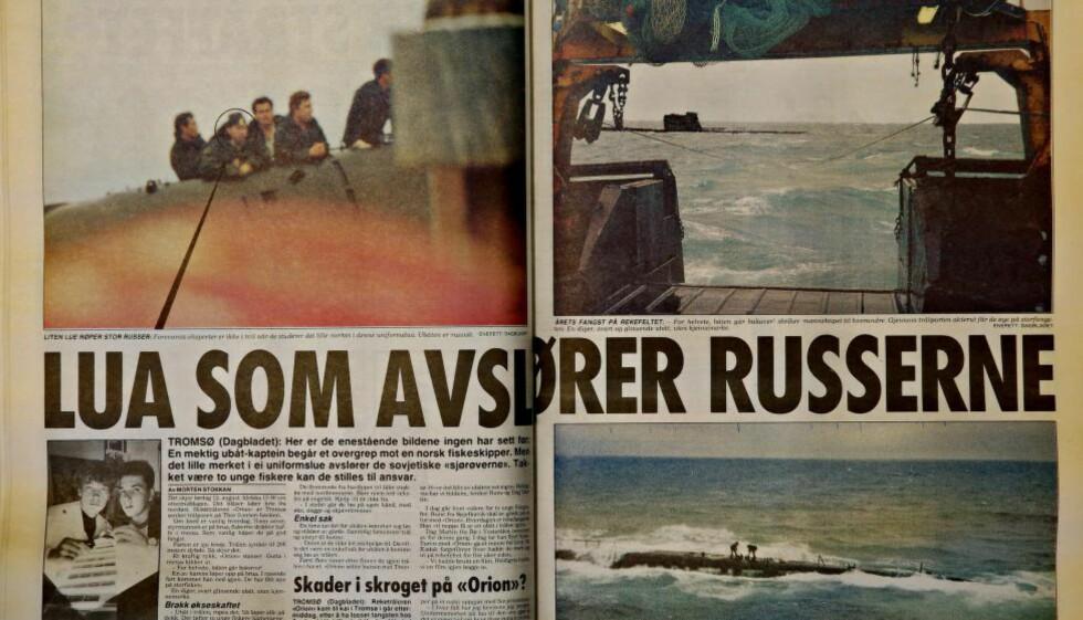 AVSLØRENDE BILDER: Rune Gamst og Dag Martin Pedersen tok avslørende bilder av det russiste mannskapet som havnet i reketrålen deres. Faksimile: Dagbladet 18. august 1989