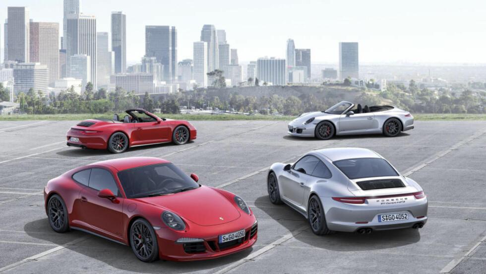 FIRE NYE: Med nye GTS med og uten firehjulsdrift og med og uten tak, og økes antall 911-versjoner av 991-generasjonen til totalt 17, hvis vi har telt riktig: 12 Carrera-versjoner (inklusiveGTS), to Targa, Turbo, Turbo S og GT3. Foto: PORSCHE