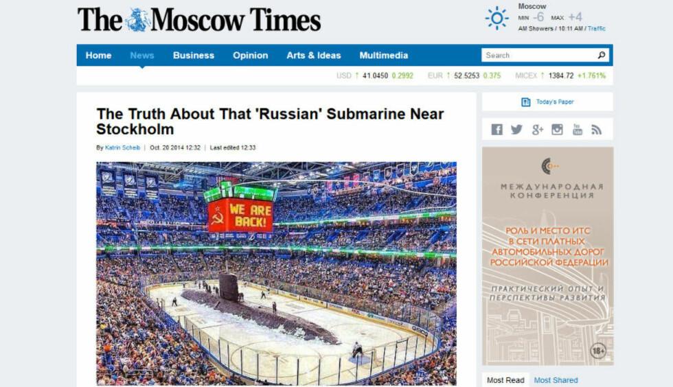 «SANNHETEN» Russiske medier gjør narr av svenskenes jakt på det som antas å være en russisk ubåt ved Stockholm. Faksimile: The Moscow Times