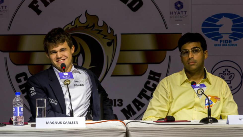UTSPILT: Magnus Carlsen knuste Vishy Anands drøm om å forsvare VM-tittelen på hjemmebane i fjor. Foto: Erlend Aas / NTB scanpix