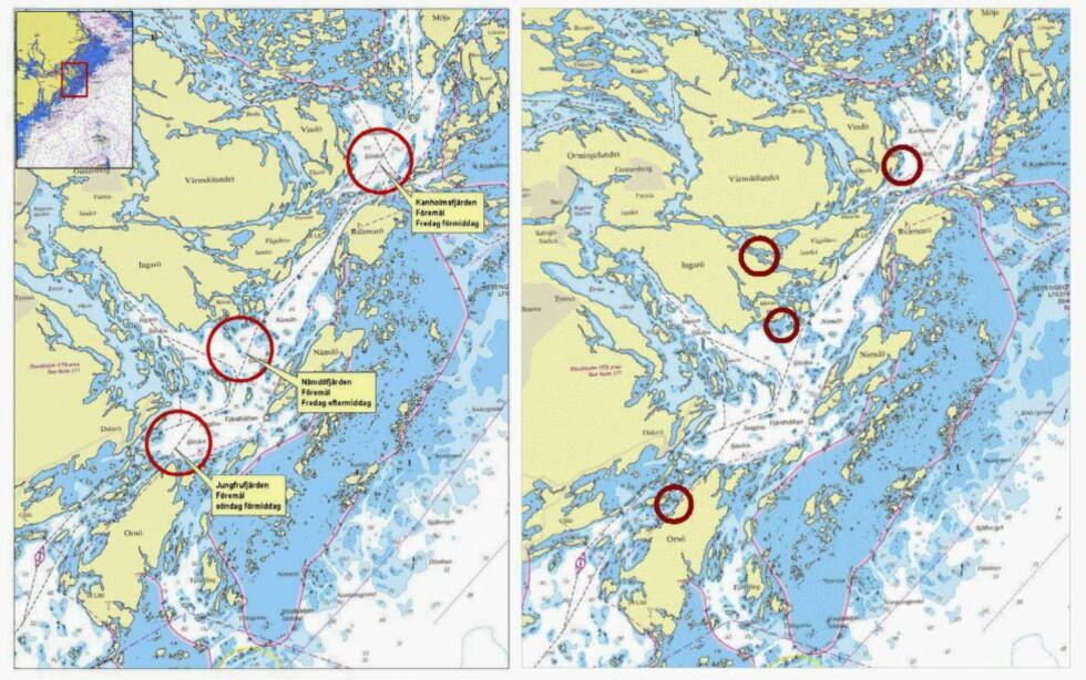 PRESENTERTE OBSERVASJONER: Det svenske forsvaret viste i går fram observasjoner de har mottatt i ubåtsaken. De fem områdene til høyre er de som undersøkes nå. Foto: Försvaret / NTB Scanpix