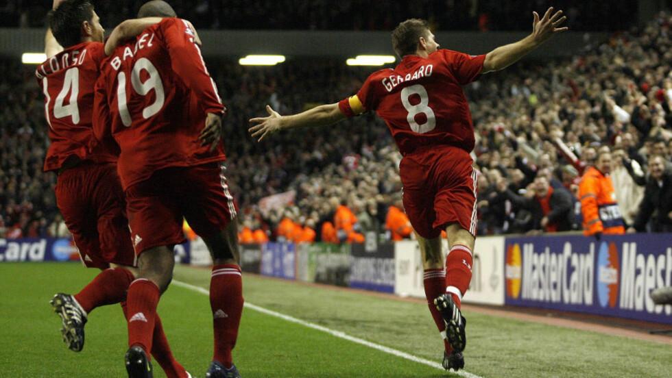 STORSEIER:  Steven Gerrard feirer under Liverpool nedsabling av Real Madrid i 2009. Foto: NTB Scanpix