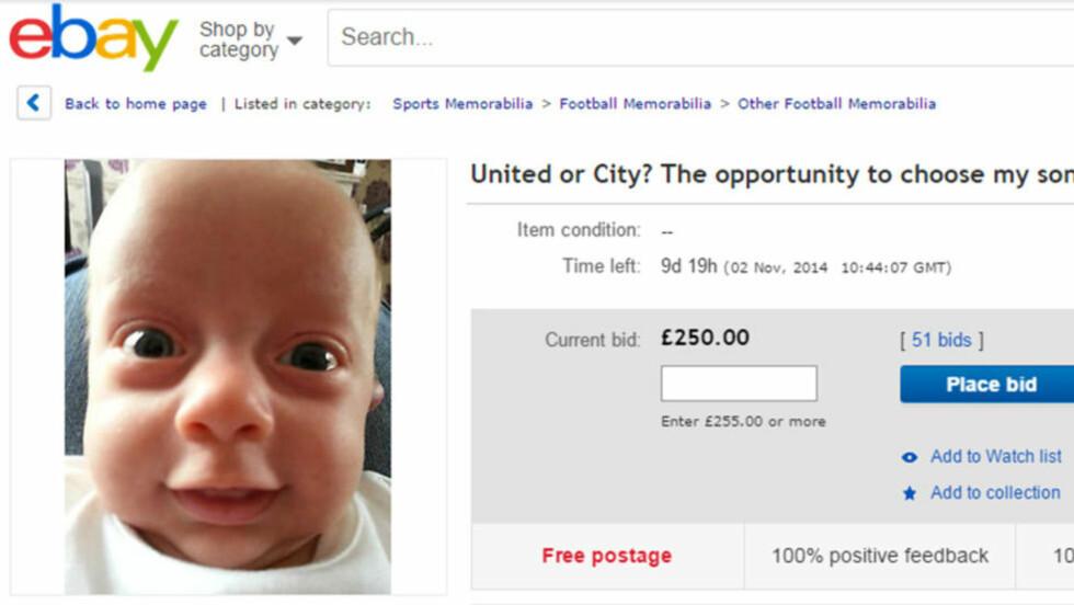 TIL SALGS:   En pappa i Manchester-området har bestemt seg for å auksjonere bort Eddies framtidige klubblojalitet på ebay. Faksimile: eBay