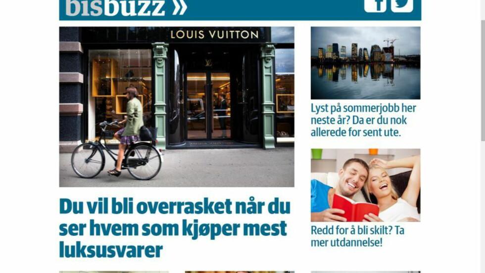 NYTT «BUZZNETTSTED»:  Dagens Næringsliv hiver seg på «buzz»-trenden. Foto: Skjermdump.