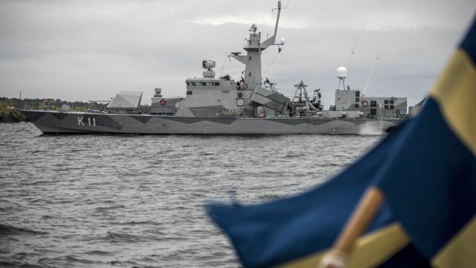 AVBRYTER SØKET: Korvetten HMS Stockholm var  i aksjon under ubåt-jakten i den svenske skjærgården utenfor Stockholm.  Foto: Øistein Norum Monsen / DAGBLADET