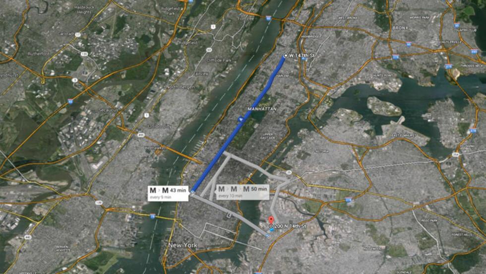 TOK T-BANEN: Dagen før Craig Spencer ble lagt inn på sykehus med ebola-symptomer tok han t-bane-linje A fra sitt hjem i Harlem og videre med L-banen til Brooklyn før han gikk til bowlinghallen «The Gutter». Kart: Google maps