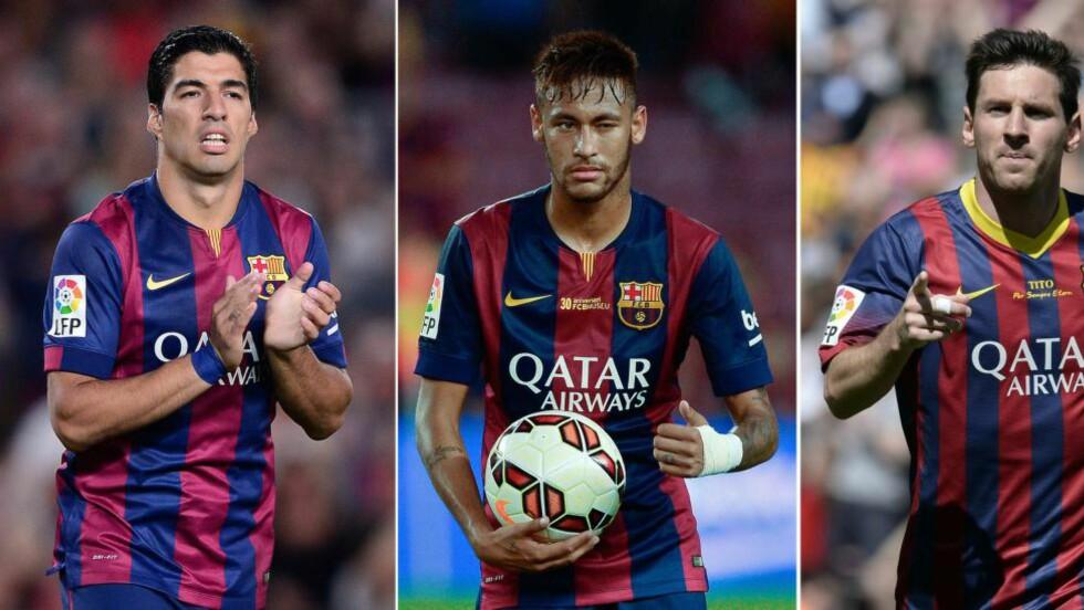 DRØMMETRIOEN Skal disse tre endelig få spille sammen i en tellende fotballkamp? Ifølge Luis Enrique er det sjanser for det. Luis Suárez (t.v.) får spilletid i El Clásico. Kanskje også samtidig som Neymar og Messi er på banen. Foto: AFP / ARCHIVES
